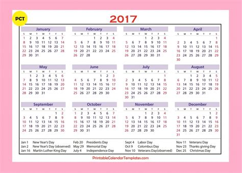 printable yearly vacation calendar free printable calendar 2017 templates free printable