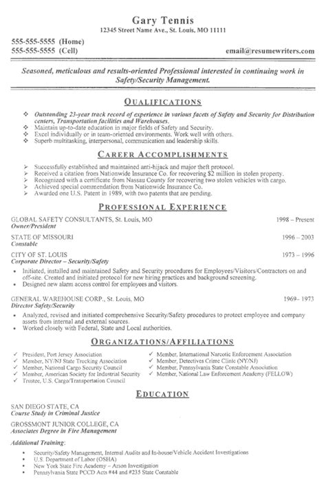 resume format for security field officer security officer resume exle sle security guard resumes