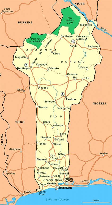 africa map benin large road map of benin benin large road map vidiani