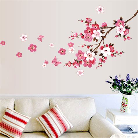 flower and butterfly wall stickers aliexpress buy diy room blossom flower butterfly wall stickers vinyl decals