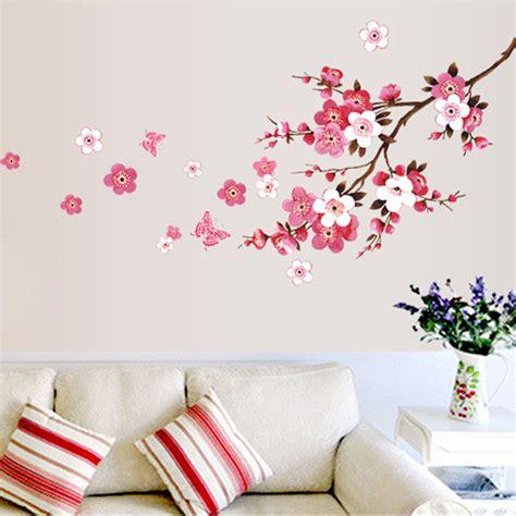Wallsticker Wall Sticker Stiker New Flower Bunga Merah Cantik aliexpress buy diy room blossom flower butterfly wall stickers vinyl decals