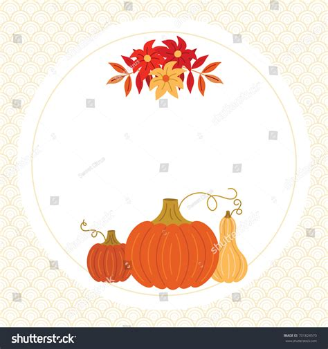 squash card template thanksgiving autumn fall greeting card template stock