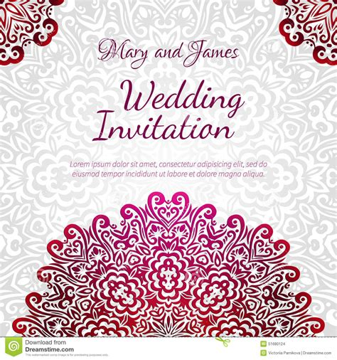 Classic Wedding Card Template by Lacy Vector Wedding Card Template Stock Vector Image