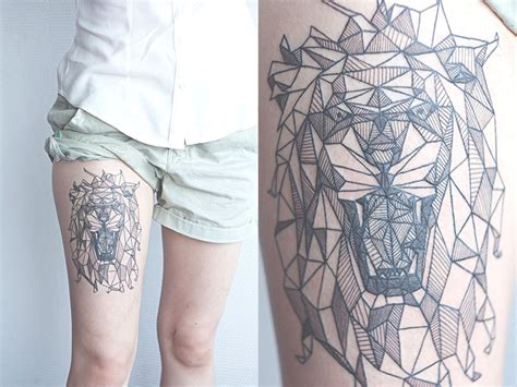 geometric lion tattoo geometric tat best ideas designs