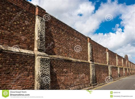 high brick wall security barrier stock image image