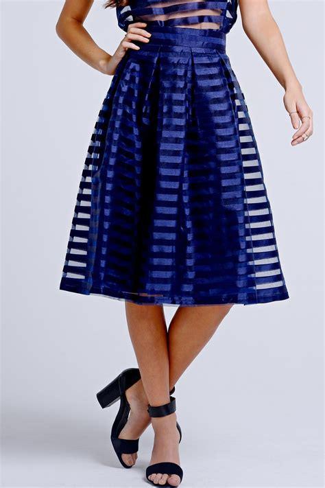 Mesh Skirt on striped mesh overlay a line skirt
