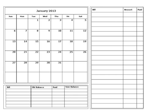 monthly bill calendar template printable bill calendar my
