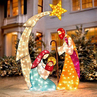 jesus outside christmas lights outdoor nativity sets holy family baby jesus and yard decorations