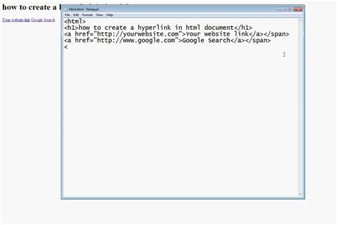 design html file how to add hyperlink in html document using by notepad