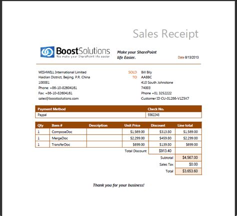 sales receipt maker template