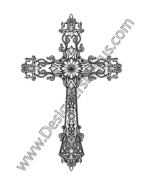 cross with scroll tattoo fashion design vector graphic v2 heraldic cross with