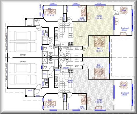 Duplex Floor Plans With Double Garage | 3 bedroom duplex with double garage duplex home designs