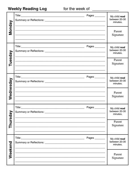homework reading log template weekly reading log with summary reading