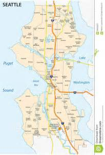 seattle united states map seattle road and neighborhood map stock illustration