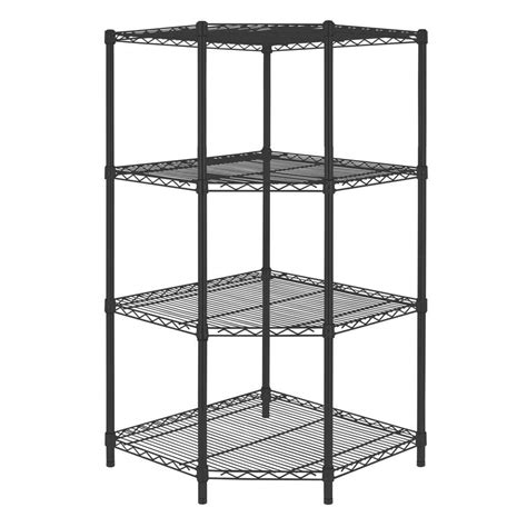 Black Corner Shelf Unit by Hdx 4 Shelf Steel Corner Shelving Unit In Black Sl Csus