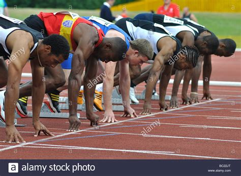 how to sprint the theory of sprint racing being a compilation of the best methods of competition and classic reprint books runners on the start line of sprint race stock photo
