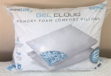 pure comfort gel memory foam pillow pure lux twin pack jumbo gel cloud memory foam comfort
