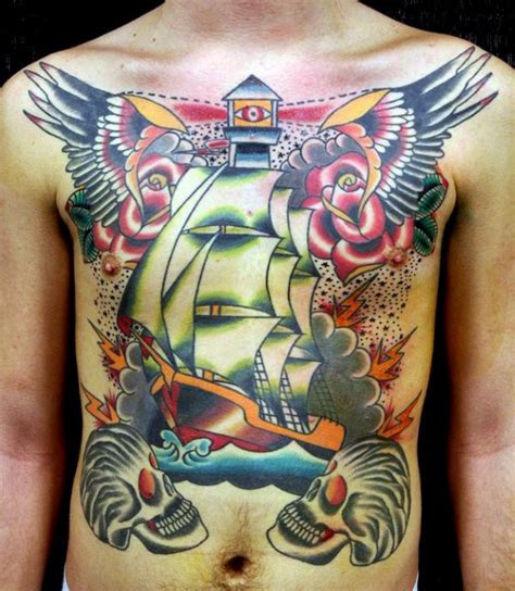 mens chest tattoos designs 60 traditional ship designs for nautical ink