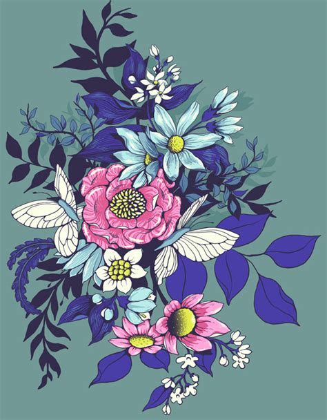 draw a pattern using flower as motif design a floral pattern for fabric in adobe photoshop