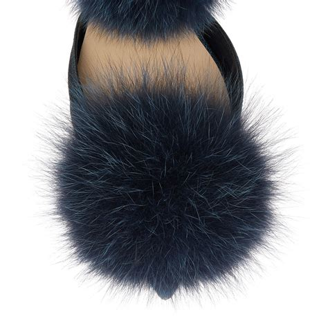 Flat Fox lyst jimmy choo dolly fox fur pom pom flats in blue