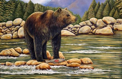 bear catch of the day painting by carmen del valle
