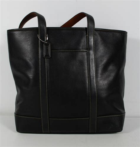 Coach Tote Black Leather Shoulder Bag coach 5188 black leather large tote shoulder bag handbag