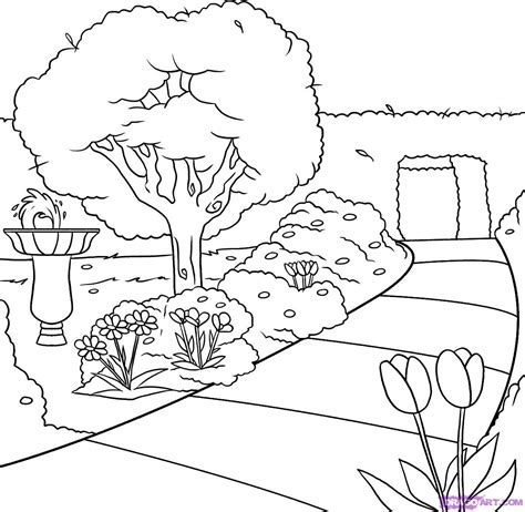 easy landscape coloring pages how to draw a garden step by step landscapes landmarks