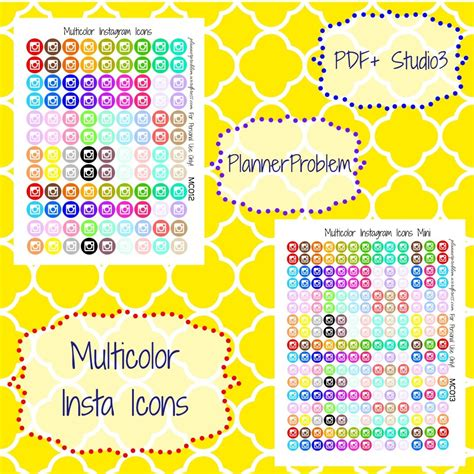 free printable planner icons multicolor instagram icons free printable planner