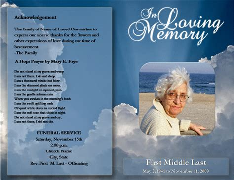 funeral service program template word templates