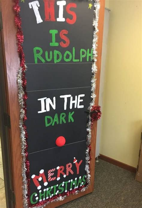 rudolph   dark christmas door decorating contest