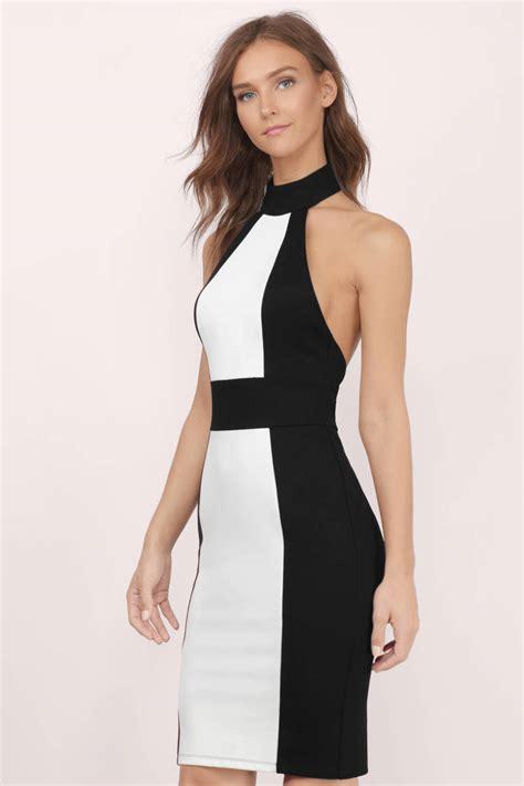 White And Black Dress trendy black white bodycon dress backless dress