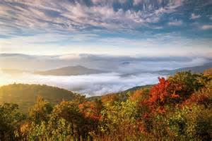 Blue Duvet Cover North Carolina Autumn Sunrise Blue Ridge Parkway Fall