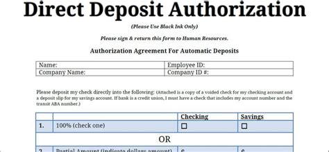 generic deposit slip template printable pdf direct deposit authorization form