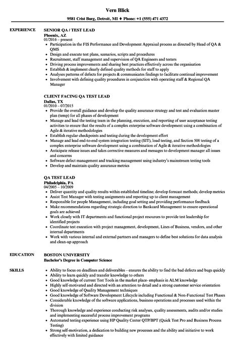 test lead resume format wonderful software qa lead resume sle gallery exle