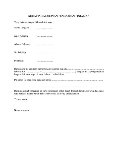 surat permohonan pengajuan pinjaman