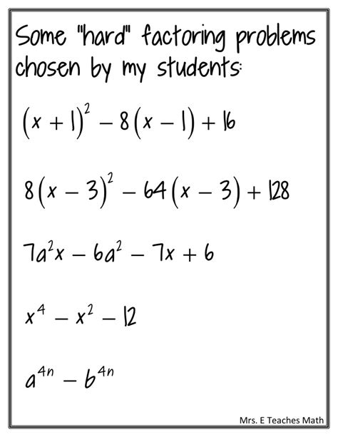 difficult pattern questions factoring practice mrs e teaches math