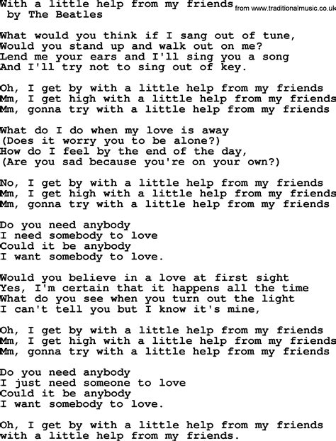 with lyrics bruce springsteen song with a help from my friends