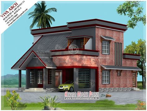 slope roof low cost home design kerala and floor plans mix wall slope roof kerala house design kerala house