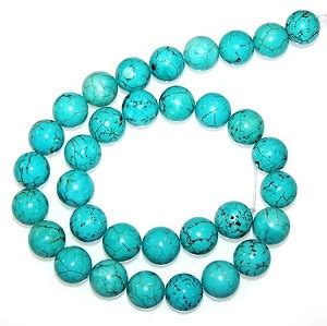 6 turquoise colored howlite 12mm semiprecious