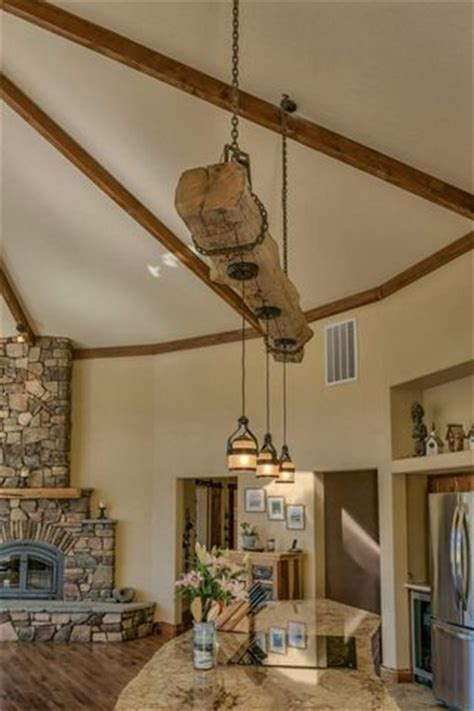Rustic Pendant Lighting Kitchen Island Rustic Reclaimed Wood Beam Kitchen Island With Hanging Pendant Lights My Kitchen