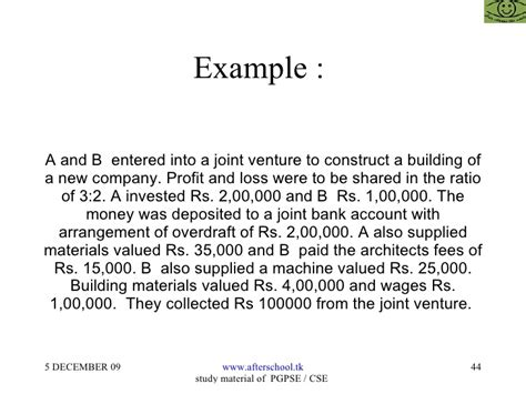 exle of joint venture consignment and joint venture accounting aspects