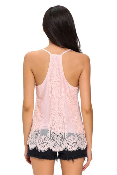 Best Seller Tank Top Lace t shirts tops pink scalloped lace overlay sleeveless