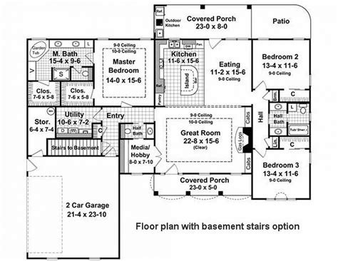 2000 sq ft house plans one story baby nursery one story house plans 2000 sq ft country