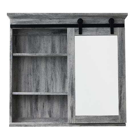 sliding door medicine cabinet glacier bay 31 in x 29 in barn door medicine cabinet