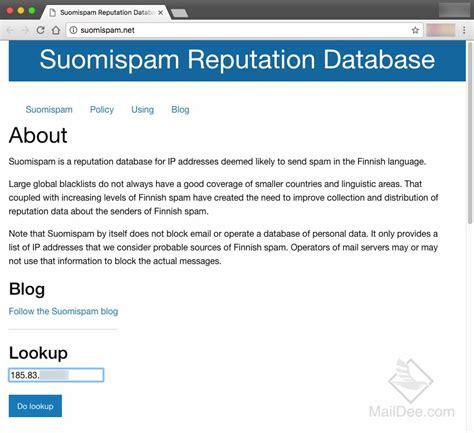 Ip Address Reputation Lookup Suomispam Reputation Whyblacklist
