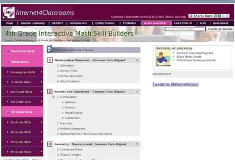 Fourth Grade Math Skill Builders Interactive Sites That