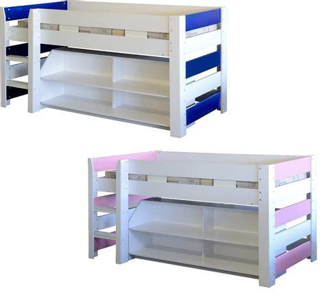 Lollipop Mid Sleeper Bed by Lollipop Single Mid Sleeper Childrens Bunk Bed Pink Blue Storage Shelves Ebay