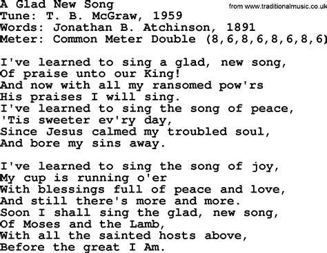 a song sacred harp song a glad new song lyrics and pdf