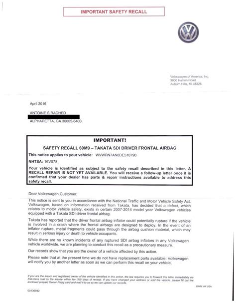 Vehicle Appraisal Letter Safety Recall Letter Sent By Vw Diminished Value Car Appraisal