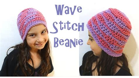 wave pattern youtube wave stitch beanie sizes baby to adult crochet beanie